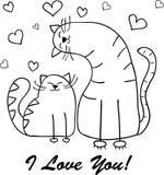 您的设计的滑稽的动画片猫剪影 免版税库存照片