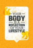 您的身体是您的生活方式的反射 锻炼和健身刺激行情 创造性的传染媒介印刷术海报 库存例证