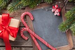 您的问候的圣诞节黑板 免版税库存图片