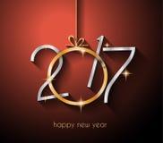 2017年您的飞行物和贺卡的新年快乐背景 库存例证