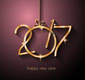2017年您的飞行物和贺卡的新年快乐背景 皇族释放例证