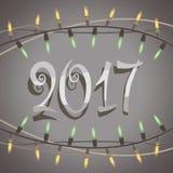 2017您的贺卡的新年创造性的设计,飞行物,邀请,海报,小册子,横幅 库存例证