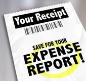 您的费用报告付款文件的收据救球 免版税库存照片