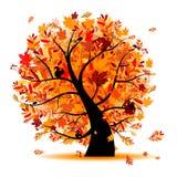 您秋天美丽的设计的结构树 皇族释放例证