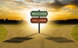 您精选的挑选成功或失败的两条路事务 免版税库存照片