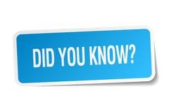 您认识蓝色方形的贴纸 免版税库存图片