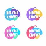 您认识讲话泡影 设置五颜六色的传染媒介徽章 营销,广告,企业横幅 库存例证