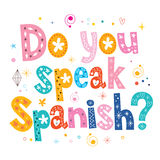 您讲西班牙装饰字法文本 免版税库存图片