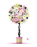 您设计花卉罐夏天的结构树 免版税库存照片