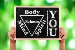 您身体精神灵魂头脑平衡 库存图片