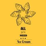 您需要的所有是冰淇凌-引述印刷背景 免版税库存照片