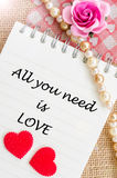 您需要的所有是在日志的爱与红色心脏并且上升了 库存图片