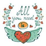 您需要的所有是爱与飞行心脏手书面印刷术的概念卡片 皇族释放例证