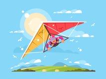 悬挂式滑翔机的人 向量例证