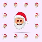 悲伤的圣诞老人在一个冷汗emoji象 网和机动性的圣诞老人项目Emoji象全集 库存例证