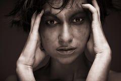 悲伤-消沉的少妇 创造性组成 免版税库存照片