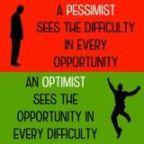 悲观者乐观主义者 库存图片