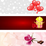 情人节三横幅被设置的爱 库存图片