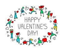 情人节与人的贺卡有心脏标志的 爱 图库摄影