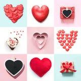 情人节与各种各样的心脏形状,礼物盒的拼贴画设计 在视图之上 平的位置 库存图片