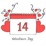 情人节与心脏的日历页 库存图片