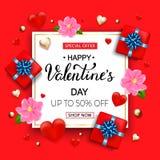情人节与心脏,花的礼物盒的销售背景 免版税库存照片