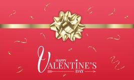情人节与现实金光滑的礼物弓和五彩纸屑的横幅布局 设计s华伦泰 向量例证