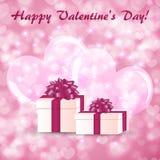 情人节与礼物盒的贺卡在大心脏背景  库存例证