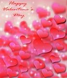 情人节与红色抽象bokeh心脏的字法背景,与开始和光在背景中 库存图片