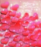 情人节与红色抽象bokeh心脏的字法背景,与开始和光在背景中 免版税库存照片
