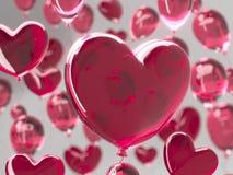情人节与红色3d气球的摘要背景 重点查出的形状蕃茄白色 爱2月14日, 浪漫婚姻的贺卡 库存图片