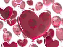 情人节与红色3d气球的摘要背景 重点查出的形状蕃茄白色 爱2月14日, 浪漫婚姻的贺卡 库存照片