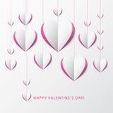 情人节与纸心脏的贺卡。des的模板 免版税图库摄影