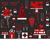 情人节与蛋糕,花,礼物的传染媒介背景 库存照片