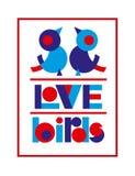 情人节与逗人喜爱的爱鸟的印刷术横幅的海报和文本设计,贺卡,婚礼邀请 库存图片