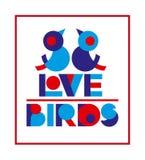 情人节与逗人喜爱的爱鸟的印刷术横幅的海报和文本设计,贺卡,婚礼邀请 库存照片