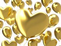 情人节与金黄3d气球的摘要背景 重点查出的形状蕃茄白色 爱2月14日, 浪漫婚姻的问候 库存照片