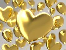 情人节与金黄3d气球的摘要背景 重点查出的形状蕃茄白色 爱2月14日, 浪漫婚姻的问候 向量例证