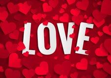情人节例证,在背景的爱文本与红色纸心脏 库存图片