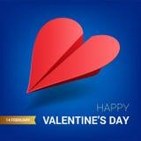 情人节例证 红色纸飞机被塑造心脏 库存图片