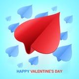 情人节例证 纸飞机被塑造心脏 爱 免版税库存照片