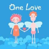 情人节假日夫妇心脏形状、男人和妇女天使举行礼物 库存照片