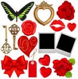 情人节剪贴薄 红色心脏,照片框架,嘴唇亲吻 免版税图库摄影