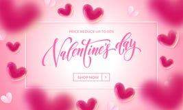 情人节华伦泰气球和纸在桃红色背景的心脏样式销售海报  传染媒介现在情人节商店discou 皇族释放例证