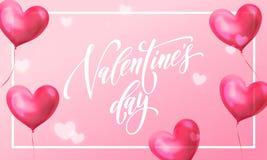情人节华伦泰红色心脏气球贺卡在桃红色轻的亮光背景的 传染媒介愉快的情人节文本lette 免版税库存照片