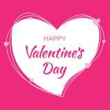 情人节卡片设计 从杂文线和字法的心脏桃红色剪影在与桃红色心脏的桃红色背景 免版税库存照片