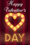 情人节卡片,与电灯泡 免版税库存图片