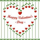 情人节卡片:心脏花和樱桃在白色背景 免版税图库摄影