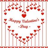 情人节卡片:心脏花和樱桃在白色背景 库存图片