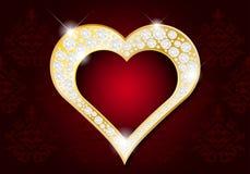 情人节卡片-与金刚石的抽象金黄心脏 图库摄影